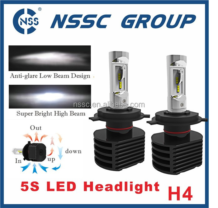 5S Automotive LED headlight fanless high lumen car h4 led headlight