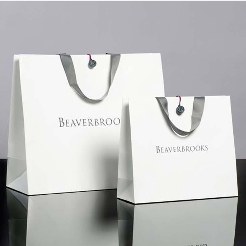 Printing Foldable White Kraft Paper Carrier Bag with Logo Manufacturer