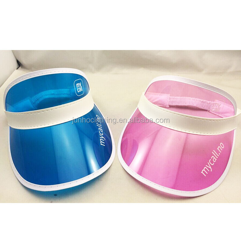 Blue pink beach uv protect wide plastic brim sun visor hats men own screen print logo korean sun visor