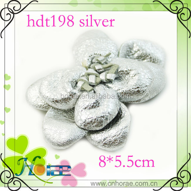 silver color leather hair accessories flower for shoes bags clothing
