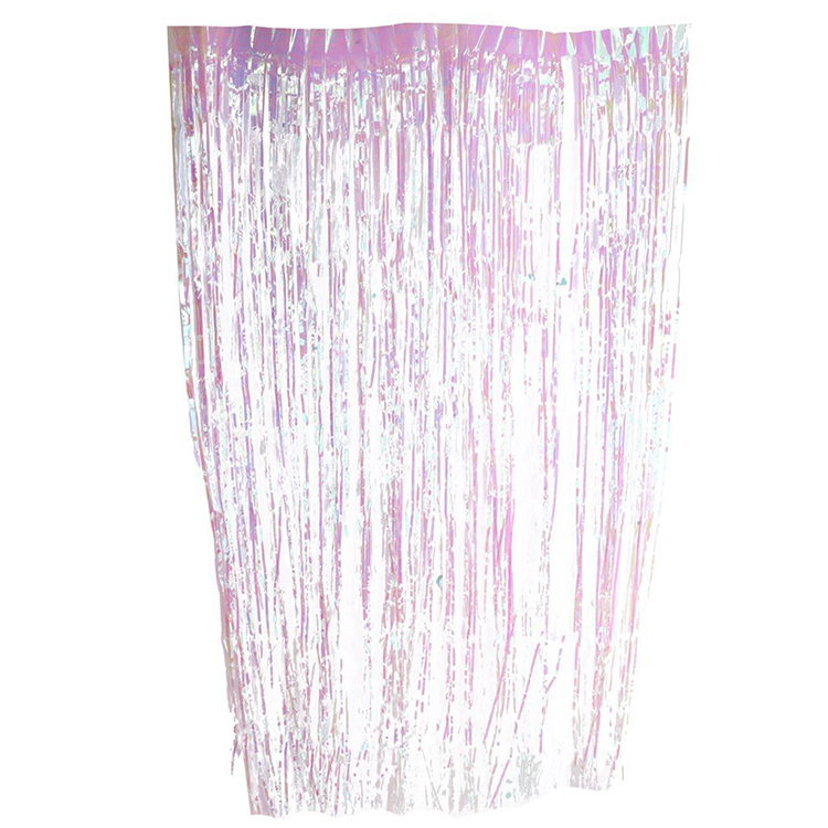 1mx2m Tinsel String Foil Fringe Curtain Shiny Shimmer Party Wedding Birthday Door Decoration Iridescent Fringe Curtain