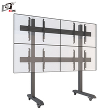 Made In China Height Adjustable Micro adjustable aluminum New Design Metal Floor TV Stand With Quad Screens
