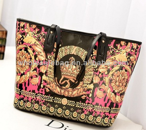 2014 New Trend Designer Large Indian Style Printing Pu Leather Handbag Tote Bag For Ladies Women Girl