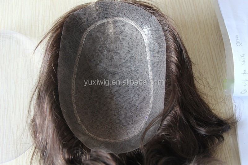 Fashion color mens toupee of monofilament with transparent PU around.