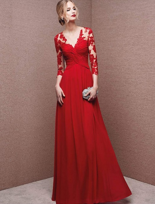 sexy deep v neck hollow lace evening red long sleeve prom dress