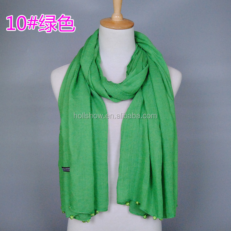 New Design Plain Blank Solid Color Cotton Ladies Fashion Scarves With Pendant