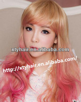 aliexpress hot selling 100% synthetic wig for fashion women curly water wave long hair wig with bang for cosplay party wig