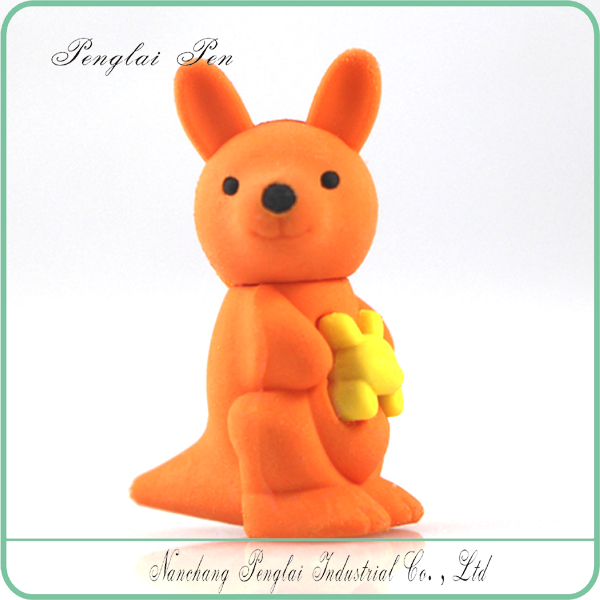 rubber 3 d eraser animal design o ECO-TPR Rubber Puzzle Cartoon Eraser cute eraser kangaroo