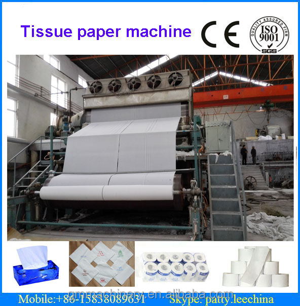 Big capacity 2760mm waste paper recycling toilet paper, tissue paper making machinery, 10 T/D