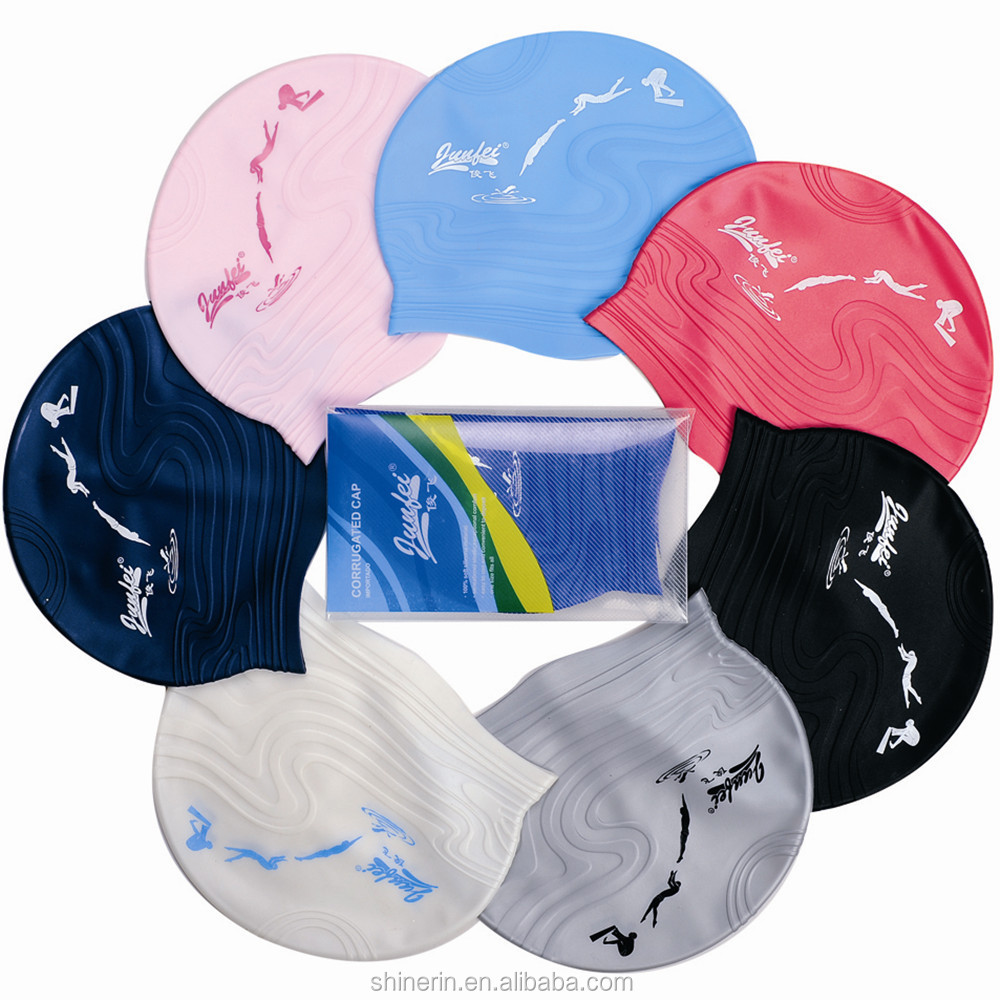 Soft Waterproof Adult Swim Caps Personal Logo Printed Silicone Swim Caps For Long Hair