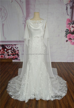 New style lace alibaba decorated with satin cape wedding dress 2016