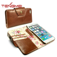 brown vintage leather mobile phone cover for apple iphone 6 plus wallet case