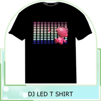 Customized EL T-Shirt Sound Activated Flashing T Shirt Light Up Down Music Party Equalizer LED T-Shirt