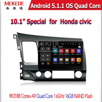 10'1 inch Cheapest Factory price +PX3-RK3188 android 5.1.1 Quad Core CAR DVD player GPS Navigation For Honda Civic
