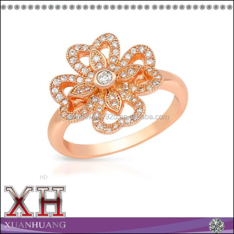 Xuan Huang CZ Jewelry Silver 925 Rose Gold Ring Flower Engagement Ring