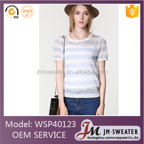 Best sale summer thin sweater women stripe round neck sweater supplier