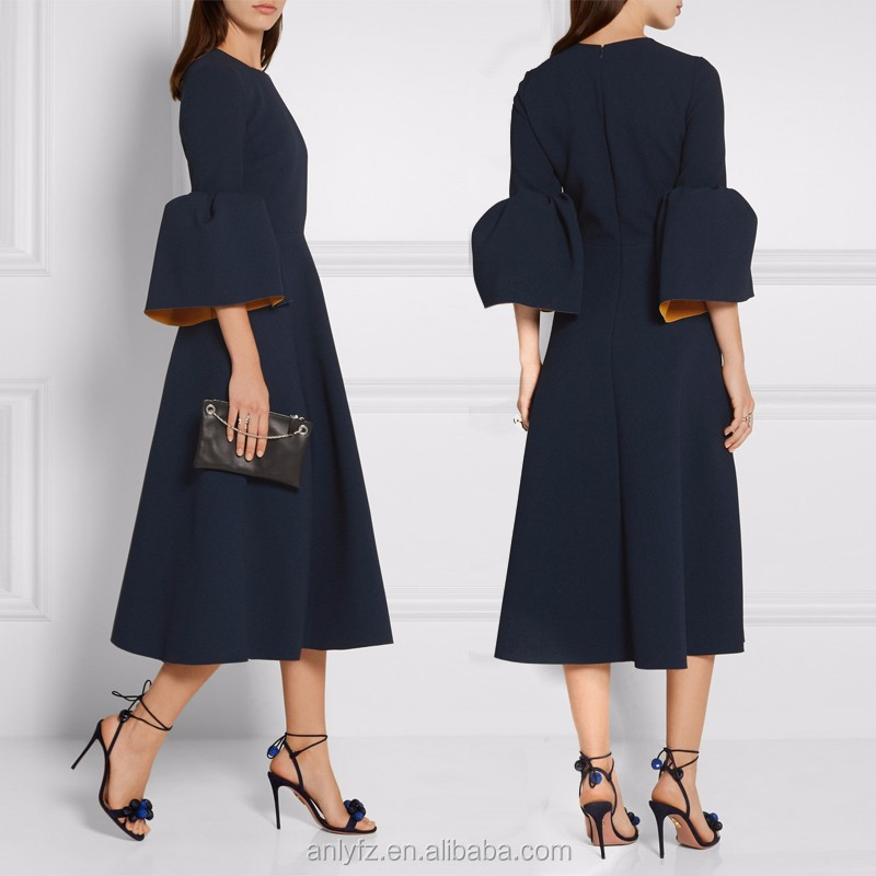 Anly newest fashion design hit color high waist elastic crepe midi dress with bell sleeve evening dresses for women