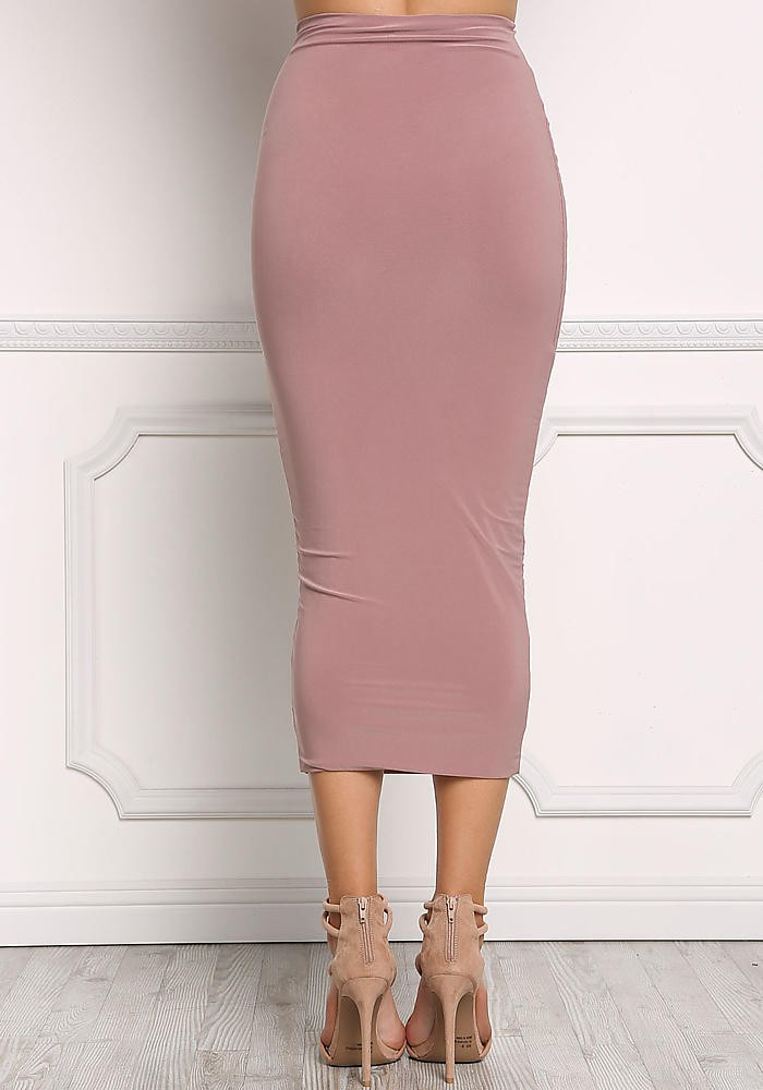 2017 Woman Hot Sale New Design Mauve High Rise Midi Skirt
