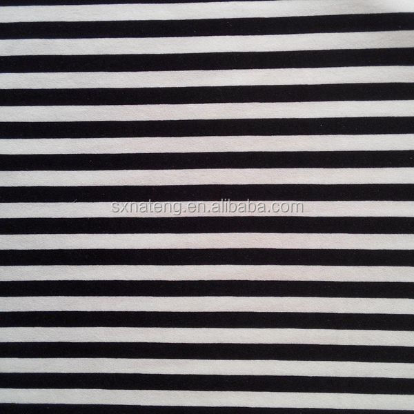 black and white striped polyester fabric