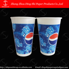 Single wall printed paper cup hot/cold drink 16oz