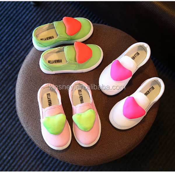 KS40384S Simple solid color hearts pattern lovely pictures of kids girls shoes