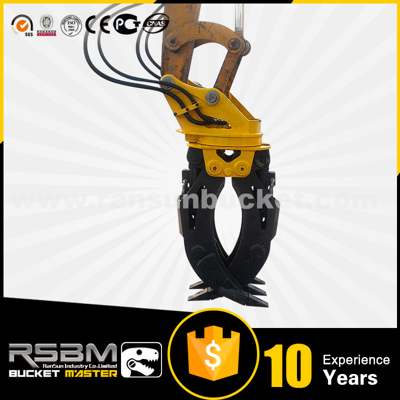 Abrasion Resistant Full 360 degree rotating double cylinders excavator hydraulic grapple
