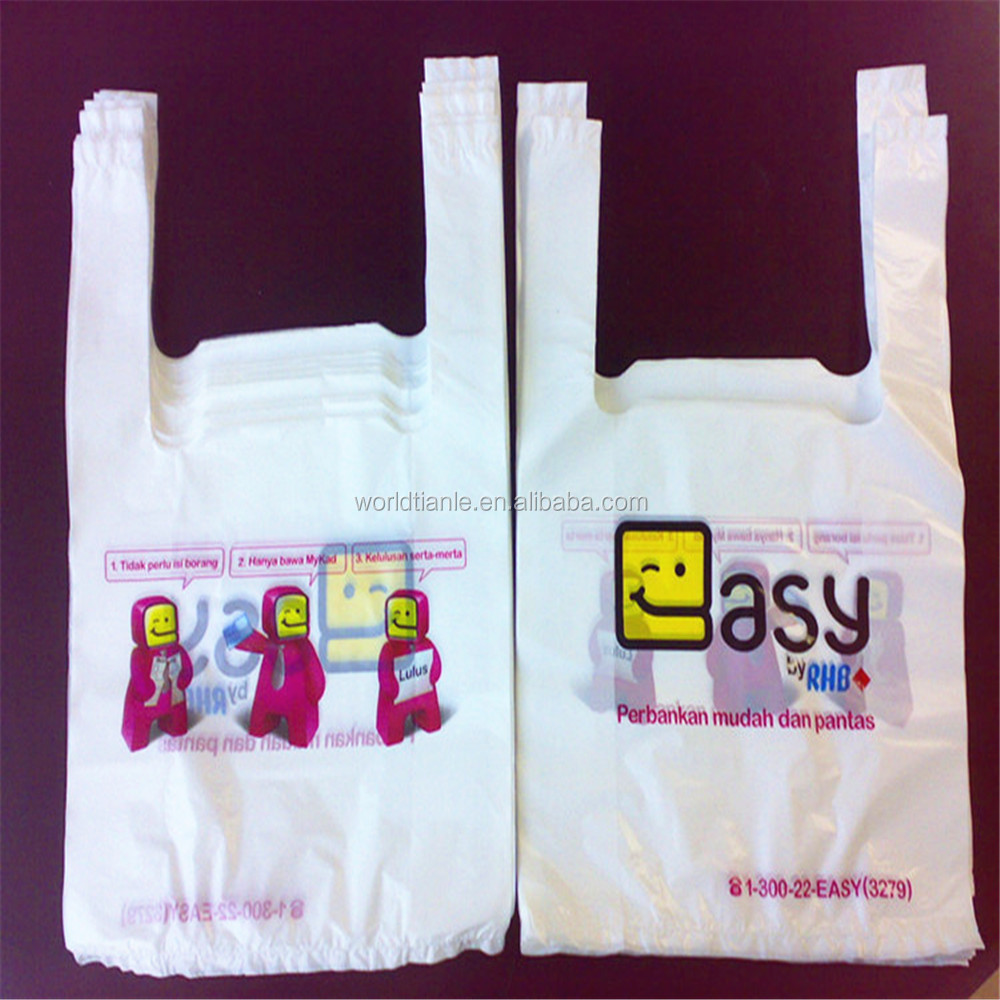Reusable poly plastic t-shirt supermarket bags for shopping