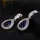 Rhodium Plated Brass Copper AAA Cubic Zirconia CZ Diamond Synthetic Sapphire Double Halo Teardrop Drop Earrings For Bridal