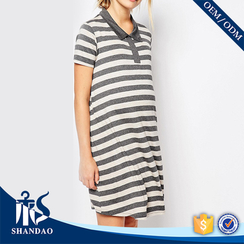 Guangzhou shandao factory casual short sleeve 220g 90%viscose 10%spandex womens stripe no label polo shirt