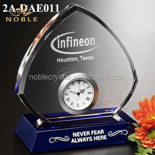 Customized logo Crystal Plaque awards trophy crystal Clock