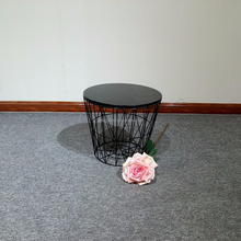 Metal basket frame end table wood round small coffee table