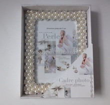 decorative 3.5x5 rhinestone pearl beaded metal alloy picture frame