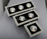 triple grid LED downlight,COB LED,3 heads, 30W x 3, rectangular, tiltable,5000K/4000K/3000K,6300 lumen, 36/60 deg, factory