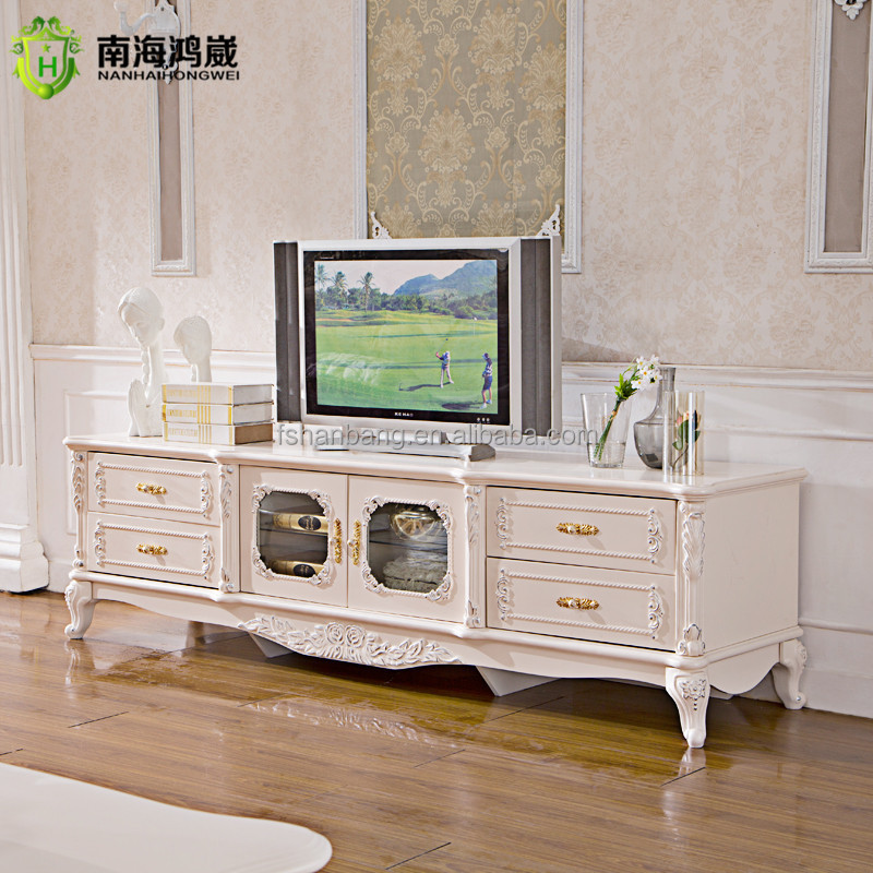 Superbe HWDSG6821 TV Stand. Ivory White Painted Decorative French Baroque Bombe  Commode