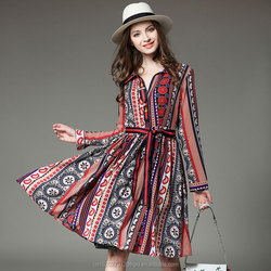 Hot Sale National Flavor Floral Print Oversized Collar Swing Dress With Stripe Belt