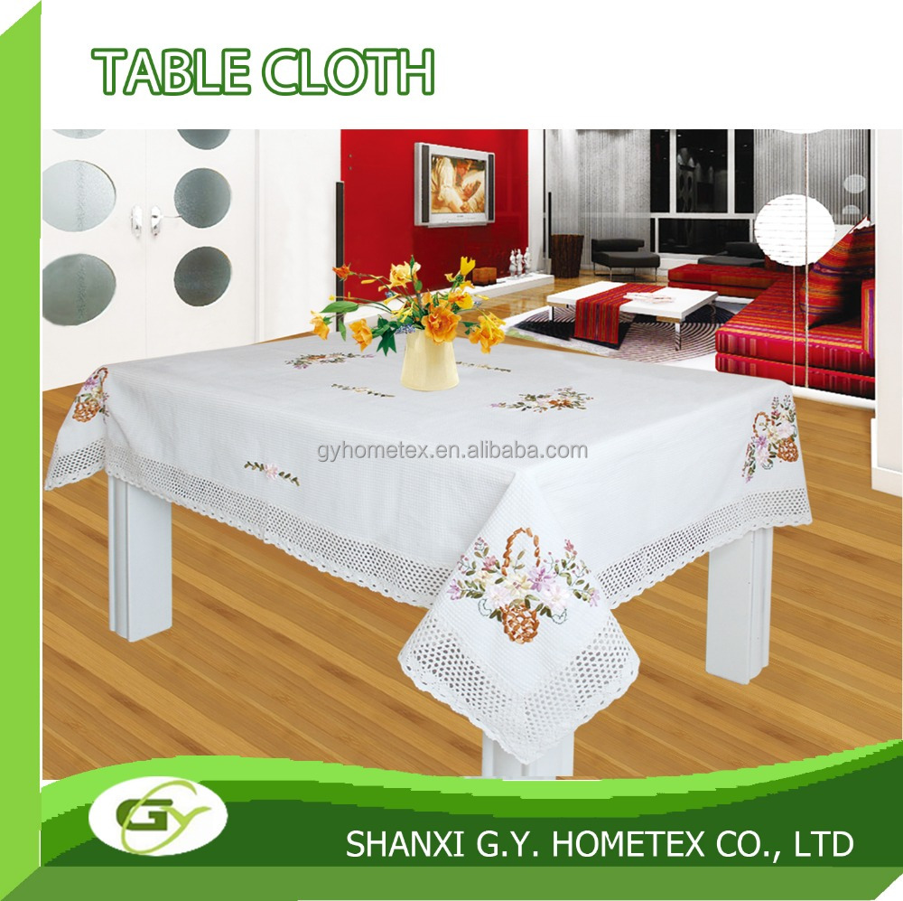 100% cotton ribbon hand Embroidery pattern waffle table cloth tablecloth