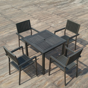 New design outdoor furniture polywood dining table chair with umbrella
