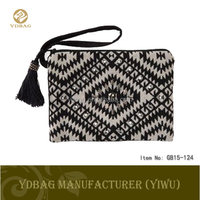 elegant canvas women clutch bag with black and white pattern