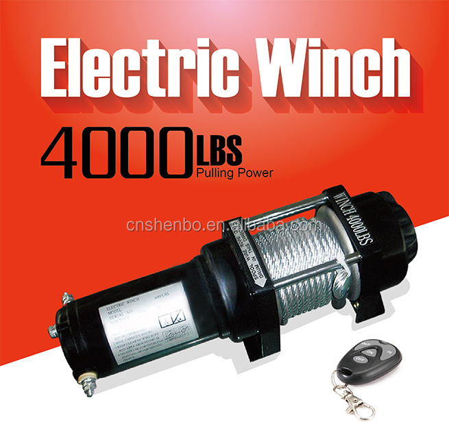 Heavy Duty Electric winch with remote control - 4000LBS/1818KG