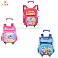 2014 new style 3D multifunctional rolling trolley school backpack wheel kids school bags for primary school