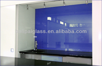 Blue cook top backsplash painted glass