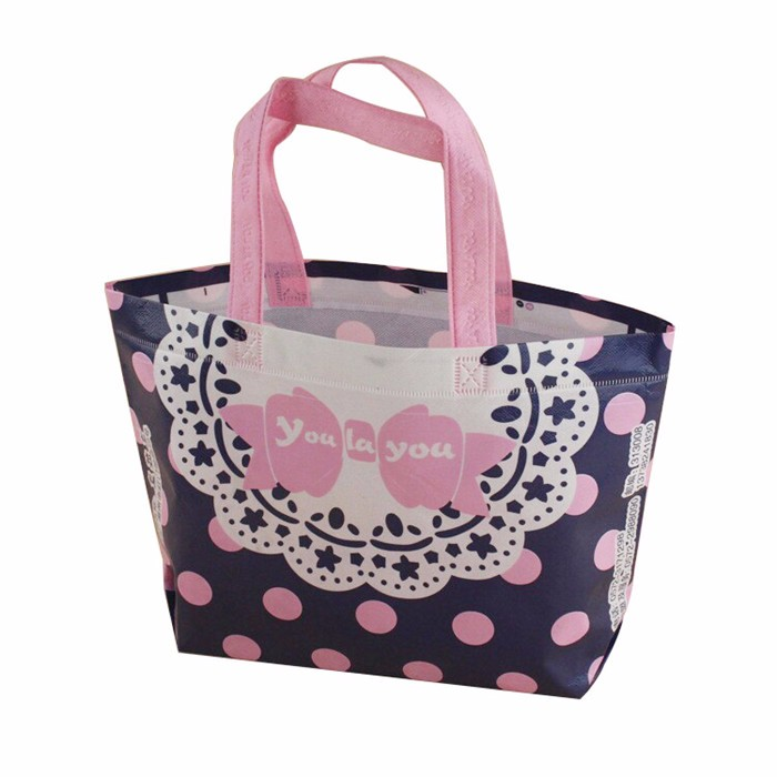 LIN High quality wholesale popular stylish pink dot non woven shopping tote bag