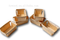 Factory price wooden custom cheap wood chip baskets wholesale for strawberry fruit berry Alibaba China