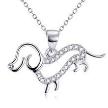 Beautiful Special Design 925 Sterling Dog shaped Silver Pendant Necklace With CZ