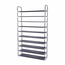 2018 Cheap Portable Black 50 Pairs Non-woven Fabric 10 Tiers Shoe Rack for Home