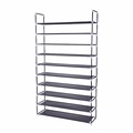 Cheap Portable Black 50 Pairs Non-woven Fabric 10 Tiers Shoe Rack for Home
