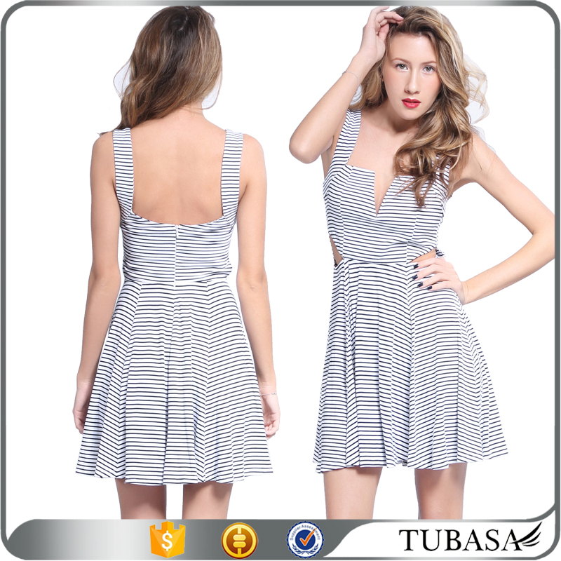 V neck striped ladies design dress cut out sexy new ladies fashion dress 2017 design