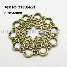 Bronze Color Flower Tablet Shape Jewelry Alloy Charm