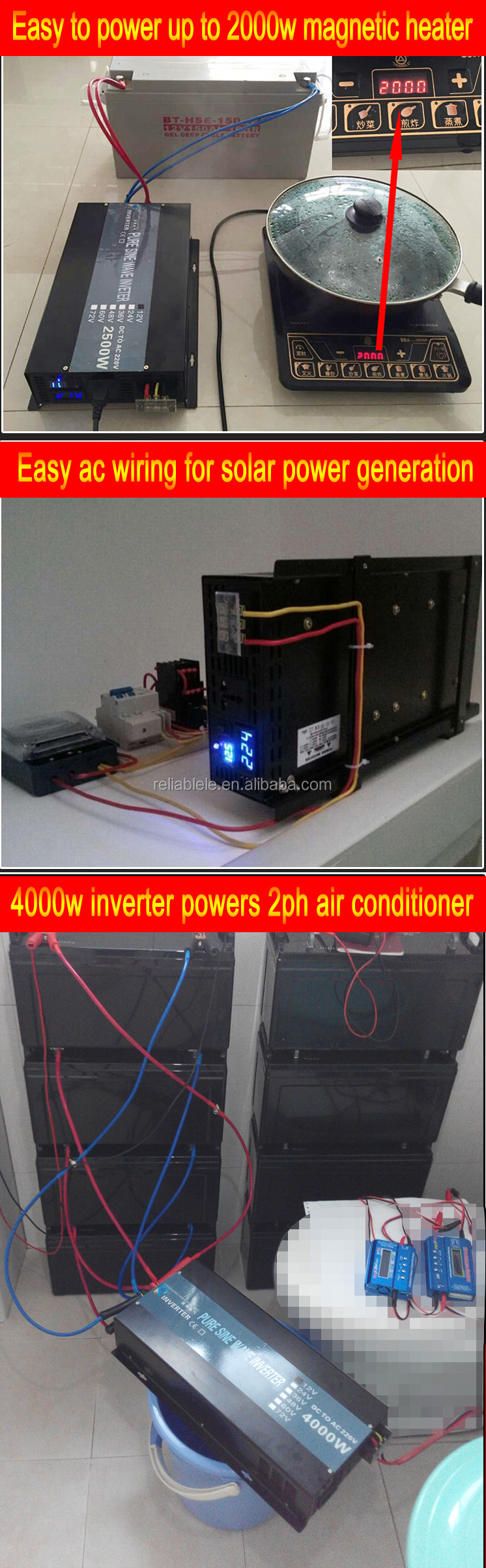 4000w 4kw 36v dc to 110v ac Off Grid Power Single Phase Pure Sine Wave Inverter with LED Display