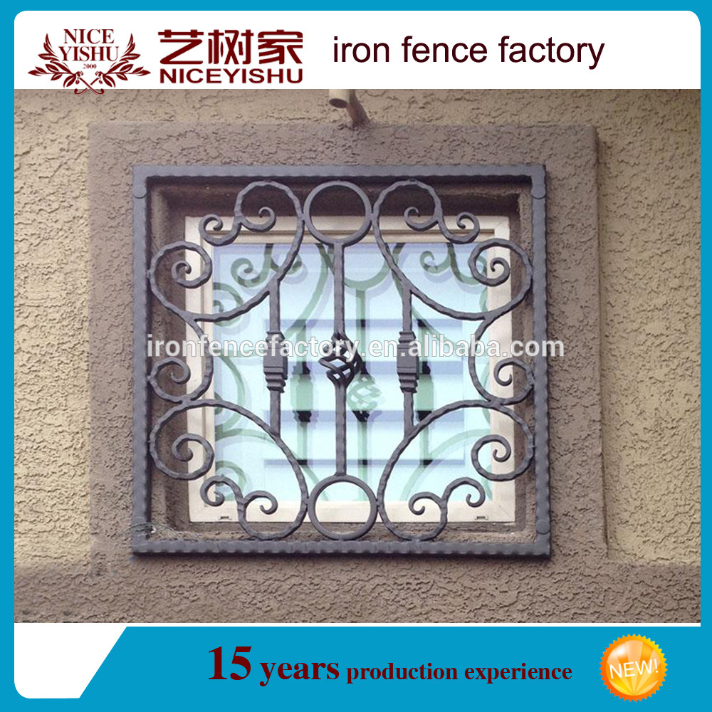 Pedestrian window grill with scroll work and bottom panel for Window scroll function